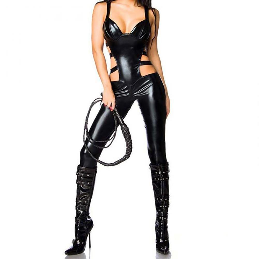 Mirlun Sexy Donne Nero Pelle Body Erotico Catsuit