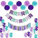 SIYUMAOYI [50PCS] Geburtstagsparty Dekorationen Set, Geburtstag Banner + Seidenpapier Blume / Papier Quasten / Papier Dot Garland + Luftballons Party Decor Kit für Geburtstag Party Dekoration(lila)