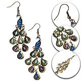 Paar Bronze Haken Ohrringe Bunte Arabische Orientale Pfaue Dekorationen und Kristalle