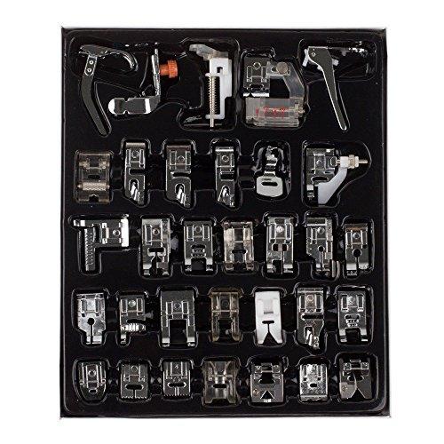 Kit de pies prensatela profesionales para máquina de coser, para máquinas Brother, Singer y Janome White, para máquinas de coser de vástago bajo, 32 unidades