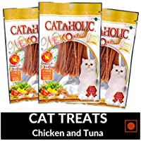 PetSutra Cataholic Treats for Cats and Kittens, Multi Flavor and Multi Size Combo (Chicken and Tuna, Pack of 3)