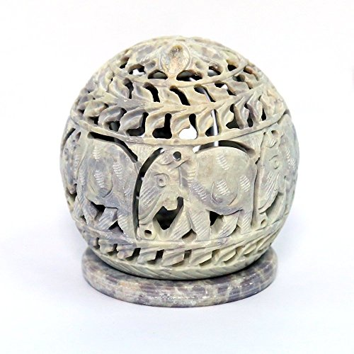 Stylla London® Soapstone Votive Tealight holderwith Elephant Figures and Tendrils Carved on the Side and a Rosette on the Top 4 x 35 Inches