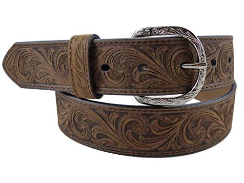 Nocona USA Western Gürtel floral tooled Cowboy Cowgirl Braun 38