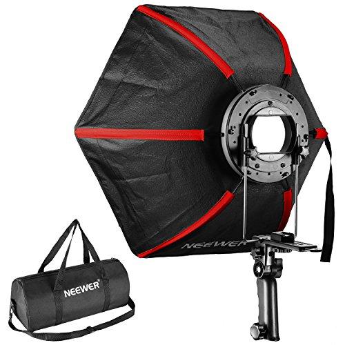 Neewer 61cm/60Zentimeter Professionelle Sechskant Softbox klappbar Diffusor mit Griff für Speedlight Studio Flash für Portrait Oder Produktfotografie (Schwarz/Rot)