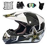 MRDEAR Casco Motocross Set (5 PCS), Casco Bici MTB Integrale Bambino con Paraorecchie Amovibili, Casco Moto Cross per Enduro BMX off Road Downhill ATV, Bianco e Nero/Rockstar,L