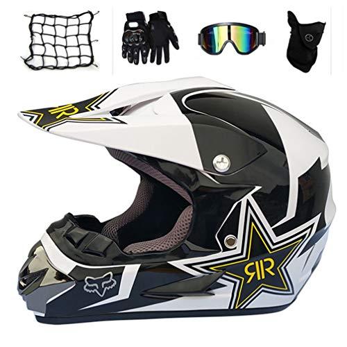 MRDEAR Motocross Helm Set (5 Stück), Motorradhelm Cross Helm Offroad Helm Schutzhelm, Sicherheit Schutz Kit für MTB Enduro BMX Downhill, Schwarz und Weiß/Rockstar,M