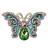 Weryffe Elegante Strass Schmetterling Brosche Delicate Gifts Emaille Insektenschmuck Revers Pin Stilvolle Accessoires Brosche (Grün)