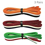 Daimay 3 Paare Streifen gedruckte Flache Schnürsenkel Ersatzschnürsenkel für Sneakers Schnürsenkel Swap - 1,2 M - Orange/Rot/Weiß/Grün/Blau