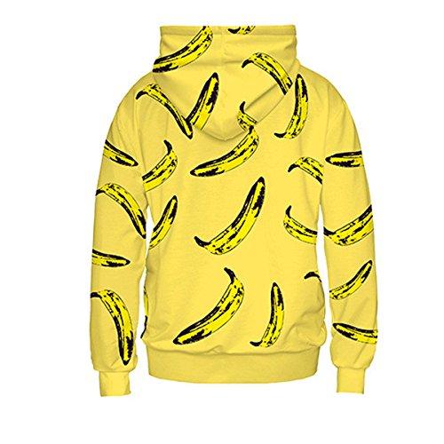 Autunno Originale Stampa Banana Maniche Lunghe Tasche Del Canguro Sciolto Giallo Cappuccio Yellow