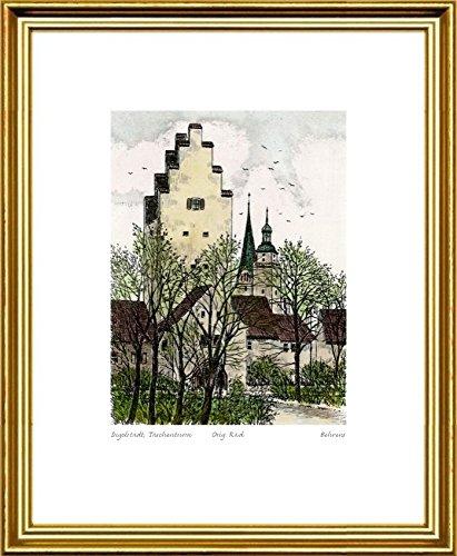 Handkolorierte original Radierung Ingolstadt, Taschenturm im Rahmen Goldkehle, Graphik, kein Kunstdruck, kein Leinwandbild