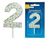 1 x Party-Zahlenkerze Picker 7 cm Ziffern Weiß Geburtstags-Kerze Feier Deko (2)