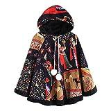 Felicove Damen Wintermantel, Winter Warmer Mantel Vintage Mantel Mantel drucken Ethnische Drawstring-Kapuzenoberteile Pom Poncho Mantel Warme Outwear Basic Softshelljacken (M, Mehrfarbig 1)