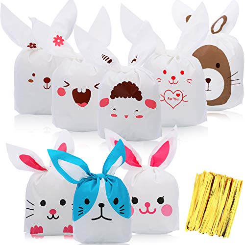 tern Häschen Form Treat Taschen Hase Süßigkeiten Geschenkverpackung Kunststoff Ostern Taschen mit 120 Stücke Gold Drehung Krawatten für Ostern Party Vorräte ()