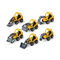 Vi.yo 6 Pcs Mini Plastic Car Model Toy Sets Classic Construction Team Vehicle Play Trucks Dumpers Toy for 3 Year Olds