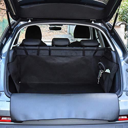 PaulePet Kofferraumschutzmatte mit Stoßstangenschutz für Hunde Kunstleder Kleinwagen Seitentasche 165 x 100 x 40 cm