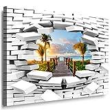 JULIA-ART 85wl7 XXXL - Format 150 - 100 cm Bild auf Leinwand Pier - Meer - Palen 3D Illusion Mauer Loch Wand Deko ideen - Natur, Landschaft Bilder