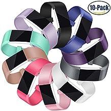 Correa para Fitbit Charge 2, Mornex Clásico 10 paquetes de recambio de pulseras ajustables, pulseras deportivas TPU con cierre de metal para Fitbit Charge2 Pequeña y Grande