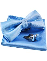 Solid Pre-tied Bow Tie Cufflinks Hanky Set for Men Neck Wear, Light Blue