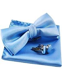 Alizeal Estructura-Pajarita, Pañuelo y Gemelos para Hombre Azul Claro