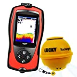 LUCKY Wireless Fish Finder mit Fisch Attraktive Licht Lampe & Farb-LCD, tragbare wiederaufladbare Fish Finder Locator,45M Tiefe 60M Sonar-Sensor-Transducer-Bereich für Boote Kayak Ice Night Fishing