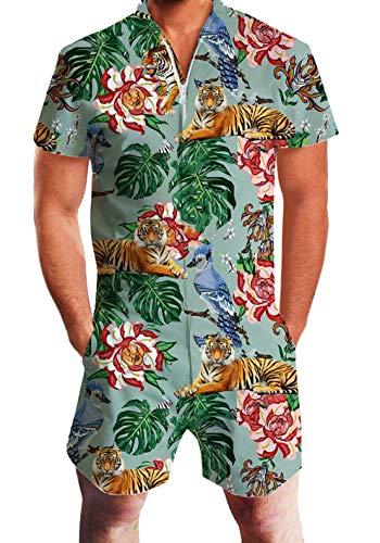 Adicreat HerrenHawaii Jumpsuit Mode Tiger Kurzen Ärmeln Strampler Outfits Tiger-overall