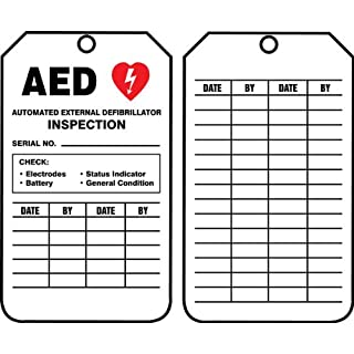 Accuform Signs TRS345CTP Inspection Record Tag, Legend AED AUTOMATED EXTERNAL DEFIBRILLATOR INSPECTION, 5.75