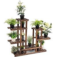 CASART. 6-tier Flower Shelf 13 Pots Rack Wooden Plant Stands Garden Holder Display Shelf Multifunctional Storage Bookshelf