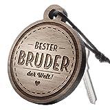 """Schlüsselanhänger aus Holz mit Gravur """"Bester Bruder – der Welt!"""""""