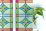 CottonColors Film Adhesif Decoratif pour Fenêtre 3D Statique Autocollant pour fenêtre Film pour Vitrage Film Occultant pour Accueil Bureau Salle de bains 90CM x 200CM(3Ft X 6.5Ft)