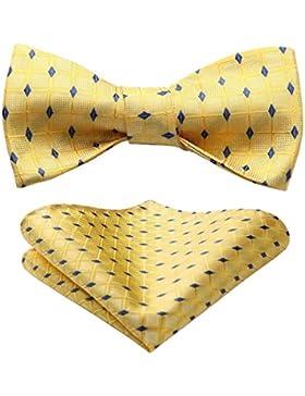 Hisdern - Conjunto de corbata de boda para hombre, diseño de rayas, tejido jacquard