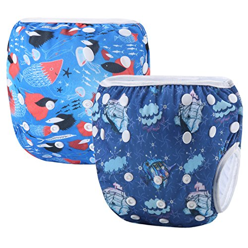Storeofbaby Couches courtes ajustables réutilisables de couche de bain pour le petit garçon nageur 0-3 ans