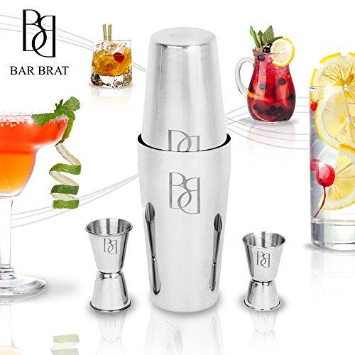 comprare on line Premium 14 Piece Barman Kit Shaker Cocktail Drink Set by Bar Brat TM/free 130 ricette di cocktail (eBook) incluso/fare qualsiasi bevanda con questo kit barman prezzo