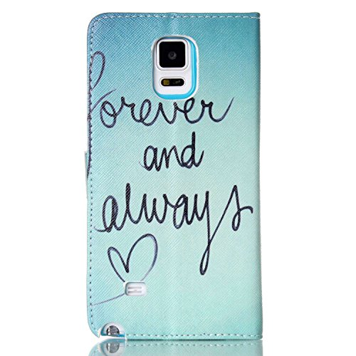 Samsung Note 4 Wallet Case Cover - Felfy Ultra Slim Cuir Coque Pour Samsung Galaxy Note 4 Flip Retro Bleu Papillon Motif PU Étui Portefeuille Housse Etui Holster + 1x Blue Touch Stylus + 1x Strass Ble Forever and Always