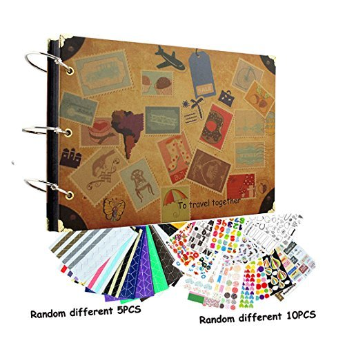Arts, Crafts & Sewing yepmax Diy Retro Scrapbook Photo Album Travelling on Road 10 X 7 Inch with Scrapbooking Stickers for Gift Travel Records