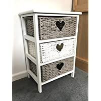 Home Delights White Grey Storage Unit Chest Wicker Drawers Girls Bedroom Bedside Table Cabinet
