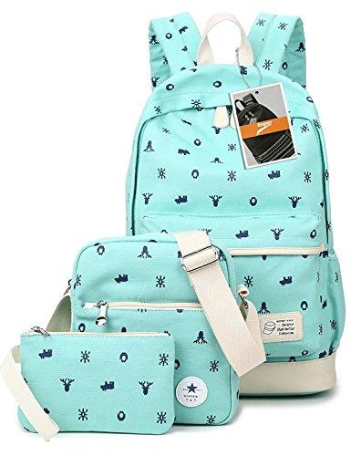leaper-cervo-leggero-casual-in-tela-borsa-a-tracolla-per-la-scuola-con-zaino-water-blue-3pcs