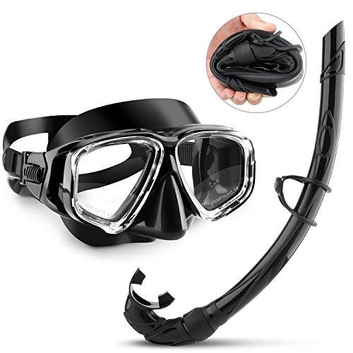 Schnorchelset,CASFANSTA Pro Schnorchel Tauchmaske mit Anti-Beschlag-Scheibe und flexiblem Silikon Atemrohr Tauchset,Taucherbrille,Tauchermaske für Erwachsene