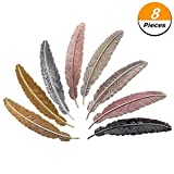 #7: Climberty 8 Pieces Metal Feather Bookmarks Assorted Metal Bookmark Feather Shape Book Marker for Adults and Kids