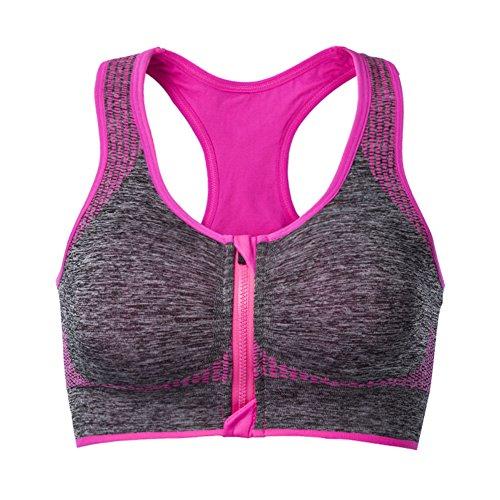 Cliont Soutien-gorge de sport pour femme High Impact Front Zip Fitness Running Yoga Bra Rose rouge