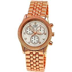 LYDC London® designer Strass Damenuhr in Rose Gold Weiß Damen Uhr inkl.Uhrenbox