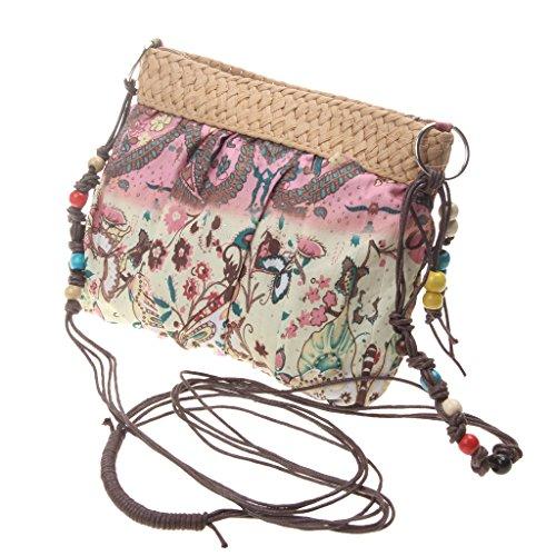 Frauen Strand Schultertasche Beutel Sommerferien Stroh Handtaschen - Rosa (Tasche Boho)