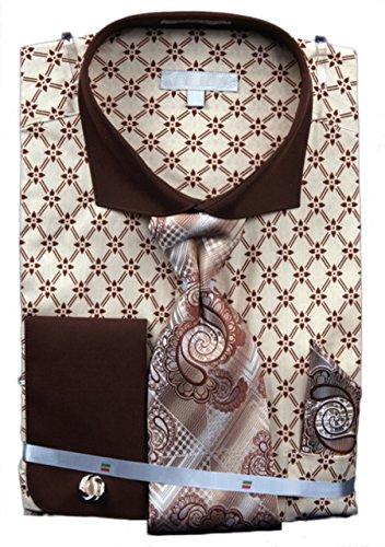 Men's Floral Print French Cuff Shirt Tie Hanky Cufflinks Beige