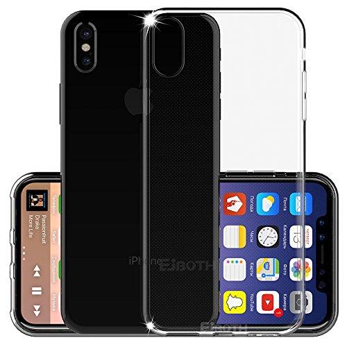 Apple iPhone X / iPhone 10 Cover Custodia Protettivo New, EJBOTH TPU Copertura morbido Caso di protezione Silicio - Anti Scivolare Graffiare Fondello protettore completa. [ Nero ] Trasparente