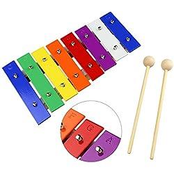 Tera Serinette mini de madera y metal, juguete de xilófono colorido para niños