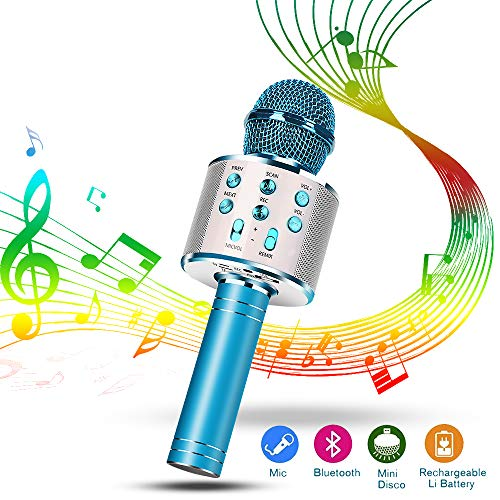 Karaoke Mikrofon, Drahtlose Bluetooth Mikrofon Tragbares Handmikrofon mit Lautsprecher und Aufnahme, Drahtlose Mikrofon Player für Erwachsene und Kinder, kompatibel mit Android/IOS