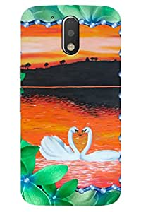 AMAN Swans 3D Back Cover for Moto G4
