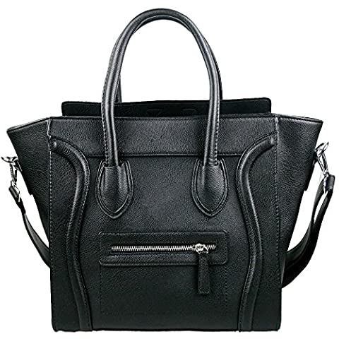 Womens Designer Style Faux Leather Smile Studded Tote Handbag (Black)