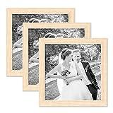 PHOTOLINI 3er Set Bilderrahmen 20x20 cm Sonoma Eiche Hell Modern Massivholz-Rahmen mit Glasscheibe inkl. Zubehör/Fotorahmen