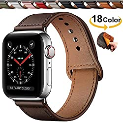 Chok Idea Innovador Hebilla Piel Genuina Correa Compatible with Apple Watch 38mm 40mm,Encubierto Hebilla Ensure Clean Fit Correa Replacment for iWatch Series 5 & 4 3/2/1,Chocolate Brown