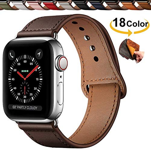 Chok Idea Innovative Schnalle Echtes Leder Uhrenarmbänder Compatible with Apple Watch Armband 40 38mm,Versteckt Buckle Minimalistisch Lederarmband Replacment for iWatch Series 4 3 2 1,Chocolate Brown - Chocolate Brown-leder-armband